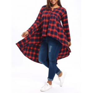 Tartan Plus Size High Low Poncho Blouse