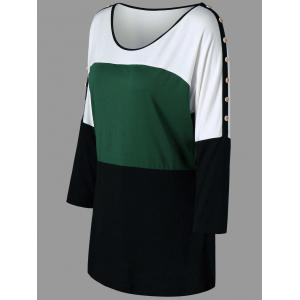 Plus Size Color Block Button Tunic Tee -