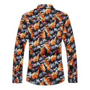 3D Maple Leaves and Butterflies Print Plus Size Shirt -