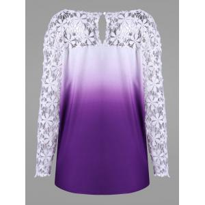 Plus Size Ombre Lace Yoke Top -