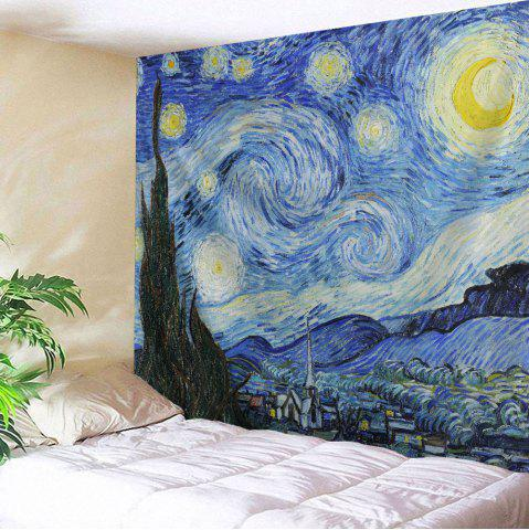 Fashion Watercolor Space Home Decor Hanging Throw Tapestry - W59 INCH * L79 INCH BLUE Mobile