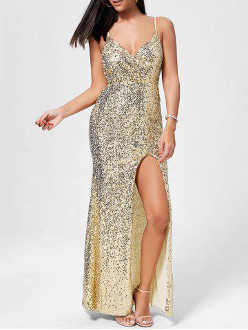 Best Sequin High Slit Long Evening Dress - L GOLDEN Mobile