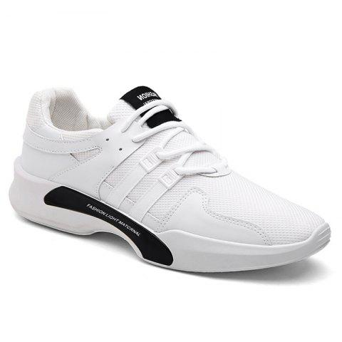 Fancy Breathable Mesh Suede Insert Athletic Shoes - 43 WHITE Mobile