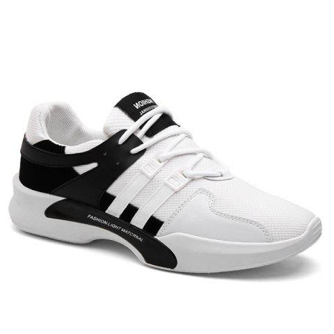 Breathable Mesh Suede Insert Athletic Shoes - Black White - 40