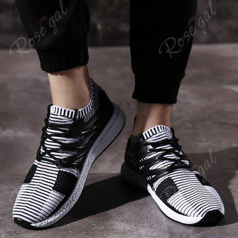 Unique Lace Up Striped Pattern Breathable Casual Shoes - 43 WHITE AND BLACK Mobile