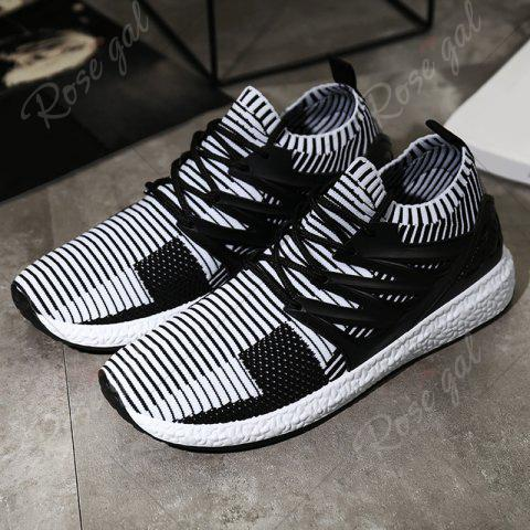 Shops Lace Up Striped Pattern Breathable Casual Shoes - 43 WHITE AND BLACK Mobile
