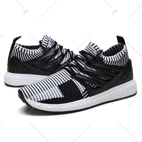 Outfit Lace Up Striped Pattern Breathable Casual Shoes - 43 WHITE AND BLACK Mobile
