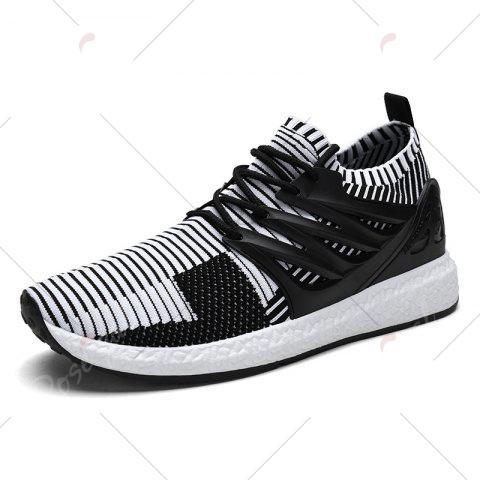 Online Lace Up Striped Pattern Breathable Casual Shoes - 43 WHITE AND BLACK Mobile