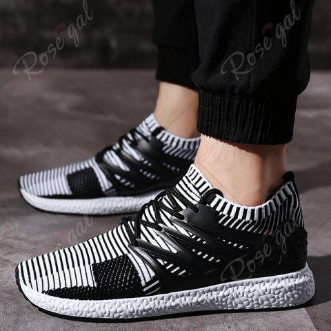 Fashion Lace Up Striped Pattern Breathable Casual Shoes - 43 WHITE AND BLACK Mobile