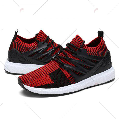Shop Lace Up Striped Pattern Breathable Casual Shoes - 43 BLACK&RED Mobile