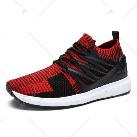 Hot Lace Up Striped Pattern Breathable Casual Shoes - 43 BLACK&RED Mobile