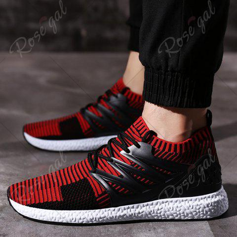 Fancy Lace Up Striped Pattern Breathable Casual Shoes - 43 BLACK&RED Mobile