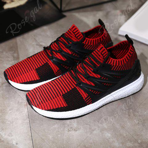 Trendy Lace Up Striped Pattern Breathable Casual Shoes - 43 BLACK&RED Mobile