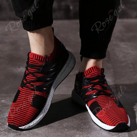 Sale Lace Up Striped Pattern Breathable Casual Shoes - 43 BLACK&RED Mobile