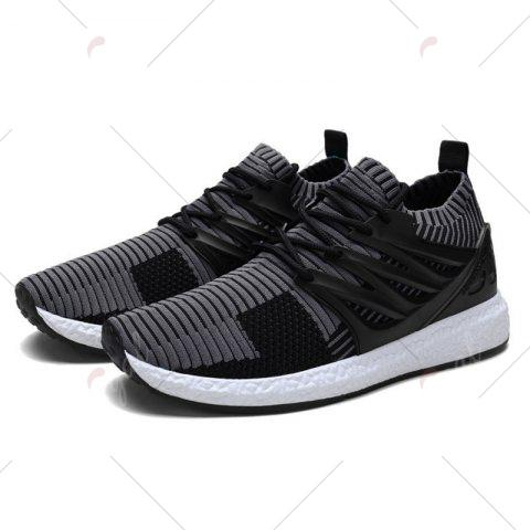 Online Lace Up Striped Pattern Breathable Casual Shoes - 43 BLACK AND GREY Mobile