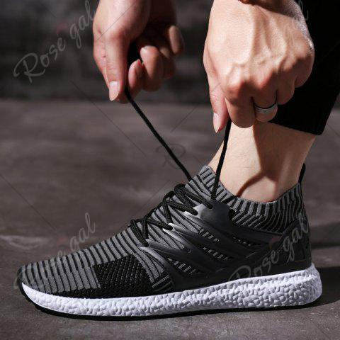 Shop Lace Up Striped Pattern Breathable Casual Shoes - 43 BLACK AND GREY Mobile