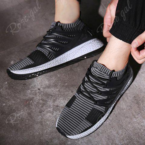 Store Lace Up Striped Pattern Breathable Casual Shoes - 43 BLACK AND GREY Mobile