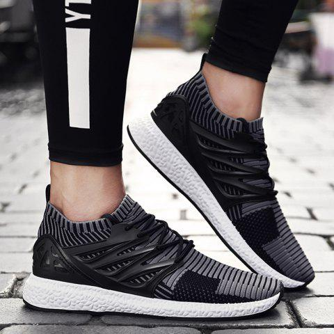 Fancy Lace Up Striped Pattern Breathable Casual Shoes - 43 BLACK AND GREY Mobile