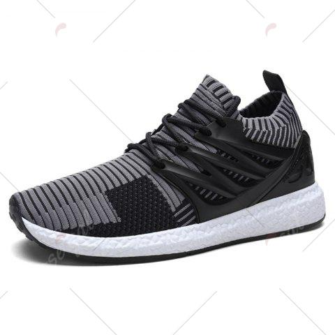 Discount Lace Up Striped Pattern Breathable Casual Shoes - 43 BLACK AND GREY Mobile