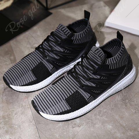 Sale Lace Up Striped Pattern Breathable Casual Shoes - 43 BLACK AND GREY Mobile