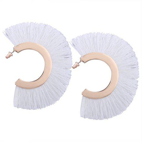 Tassel Statement Hoop Earrings - White