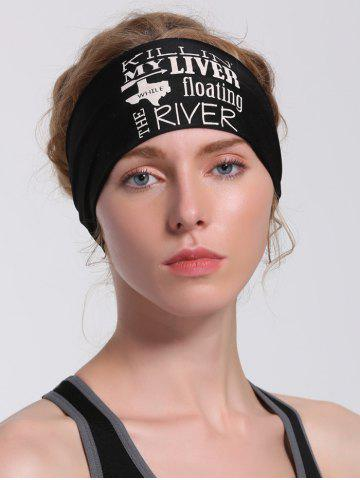 Running Hip Hop Letters Pattern Headband Noir