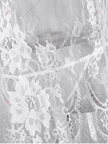 Latest Lingerie Cold Shoulder Lace Sheer Dress - ONE SIZE WHITE Mobile
