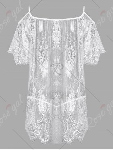 Cheap Lingerie Cold Shoulder Lace Sheer Dress - ONE SIZE WHITE Mobile