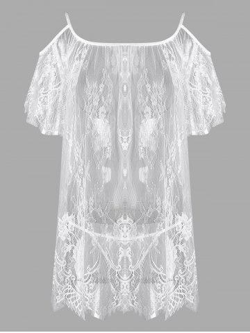 Store Lingerie Cold Shoulder Lace Sheer Dress - ONE SIZE WHITE Mobile