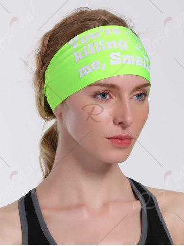 Chic Cycling Sport Letters Printing Headband - NEON GREEN  Mobile