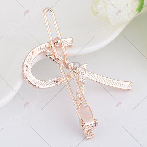 Online Letter R Rhinestone Inlaid Hairclip - CERULEAN  Mobile