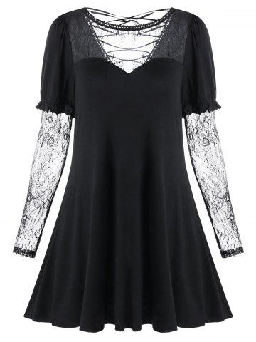 Lace Up Long Sleeve Sheer Flare Dress - Black - 2xl