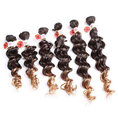 6PCS Deep Wave Ombre Colormix Synthetic Hair Wefts Graduel Brun