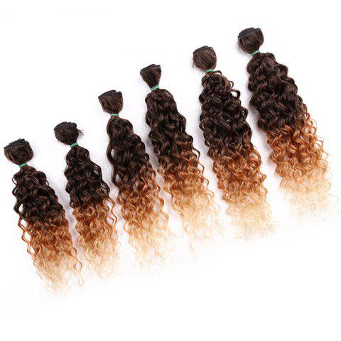 Sale 6PCS 14~18 Inches Jerry Wave Colormix Hair Wefts GRADUAL BROWN