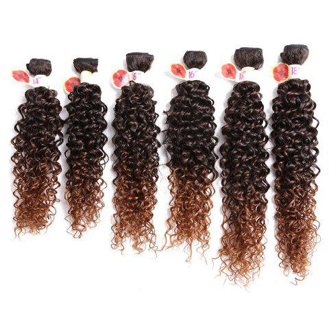 Affordable 6PCS 14~18 Inches Jerry Wave Colormix Hair Wefts - DEEP BROWN  Mobile