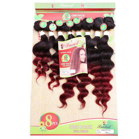 Online 8PCS Caribbean Deep Wave Different Sizes Hair Wefts WINE RED