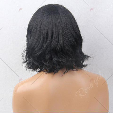 Trendy Short Inclined Bang Slightly Curly Bob Human Hair Wig - JET BLACK #01  Mobile