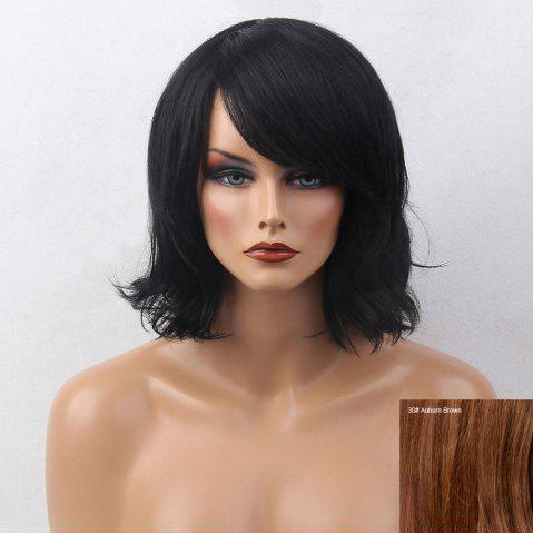 Sale Short Inclined Bang Slightly Curly Bob Human Hair Wig - AUBURN BROWN #30  Mobile