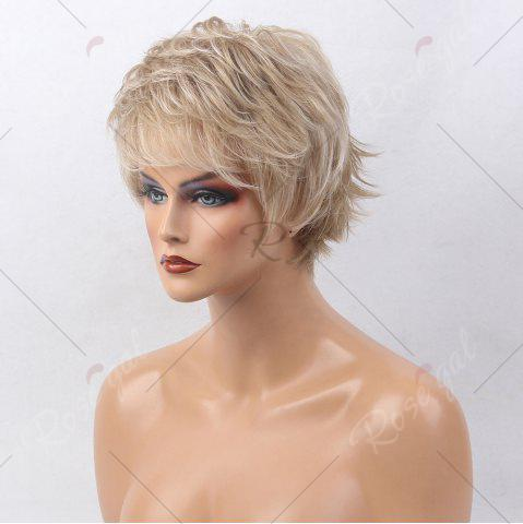Fancy Short Side Bang Colormix Tail Upwards Layered Slightly Curly Human Hair Wig - COLORMIX  Mobile