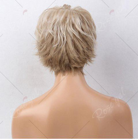 Trendy Short Side Bang Colormix Tail Upwards Layered Slightly Curly Human Hair Wig - COLORMIX  Mobile