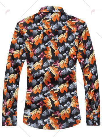 Outfit 3D Maple Leaves and Butterflies Print Plus Size Shirt - 5XL COLORMIX Mobile