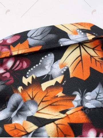 Chic 3D Maple Leaves and Butterflies Print Plus Size Shirt - 5XL COLORMIX Mobile