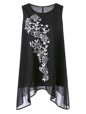 Asymmetric Plus Size Floral Embroidered Top - Black - 3xl