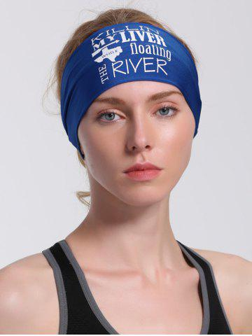 Shop Running Hip Hop Letters Pattern Headband - BLUE  Mobile