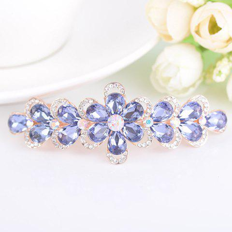 Hot Faux Crystal Rhinestone Inlaid Flower Shape Barrette PURPLE