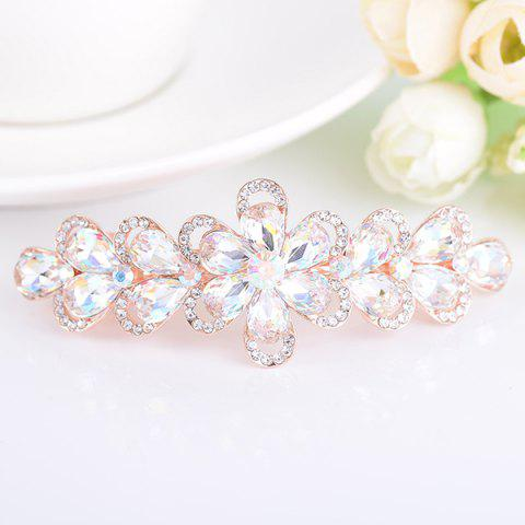 Cheap Faux Crystal Rhinestone Inlaid Flower Shape Barrette - WHITE  Mobile