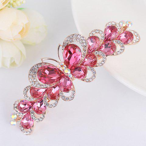 Butterfly Design Faux Gem Inlay Rhinestone Barrette