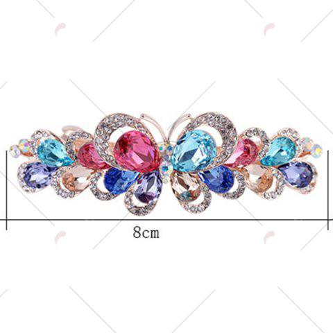 Shop Butterfly Design Faux Gem Inlay Rhinestone Barrette - COLORFUL  Mobile