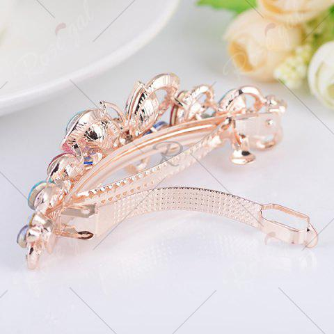 Trendy Butterfly Design Faux Gem Inlay Rhinestone Barrette - COLORFUL  Mobile