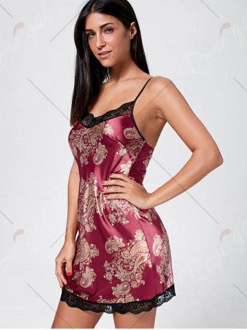 Affordable Slip Pajama Dress - ONE SIZE DEEP RED Mobile
